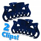 """2x Hair Claw Clips Small 3.25"""" Navy Blue Plastic Fashion Accessory _144-27"""