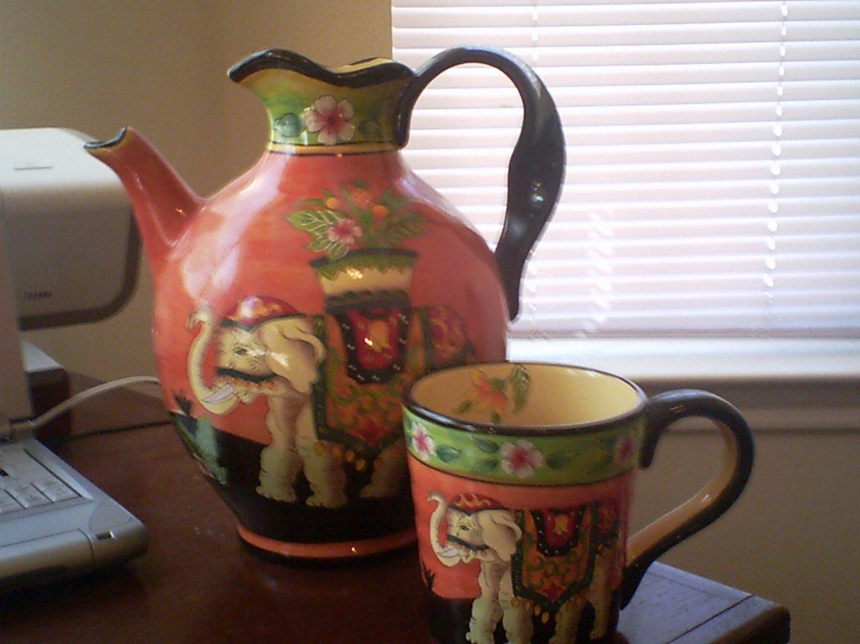 Imported Elephant Pitcher And Matching Mug