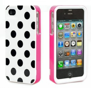 3 PIECE POLKA DOTS SKIN HARD CASE COVER FOR iPhone 4 4G 4S 4GS 4th black and WHITE Verizon AT&T