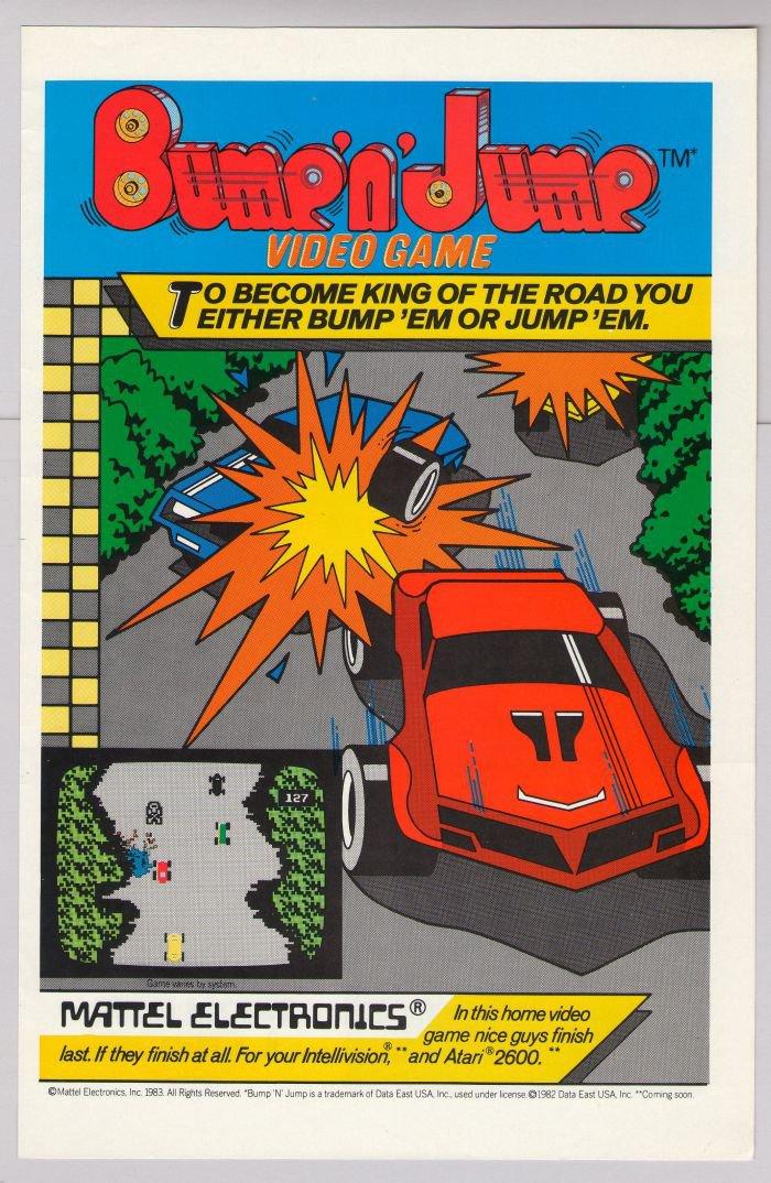Bump 'n' Jump video game Mattel PRINT AD cartridge advertisement '80s 1983