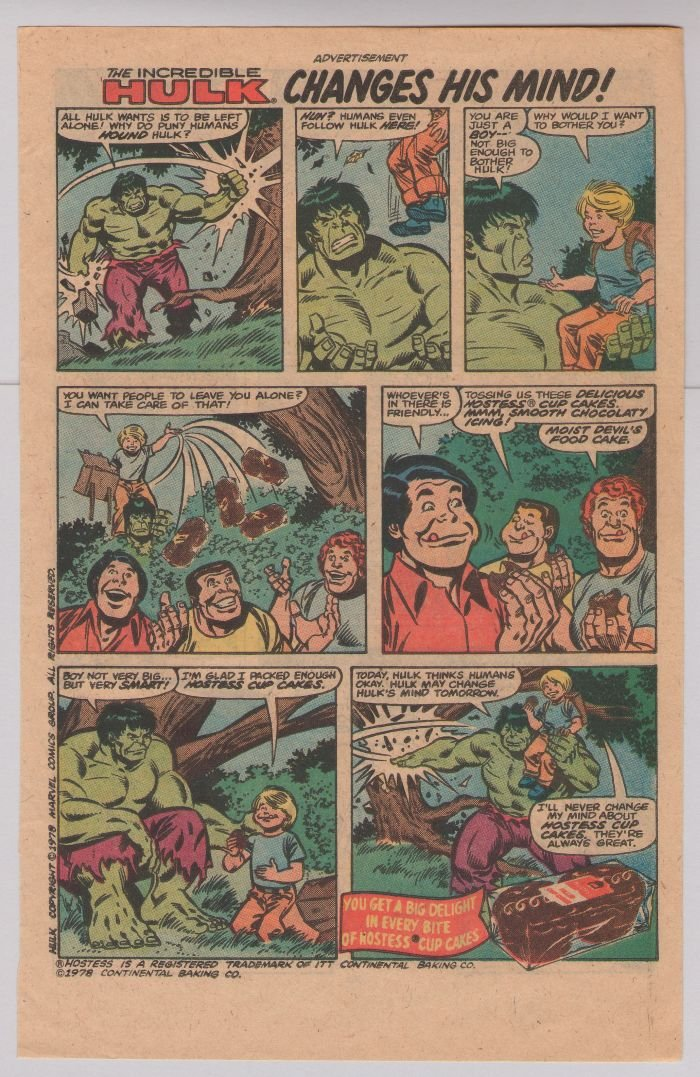 HOSTESS Cup Cakes print ad HULK Changes His Mind '70s comic vintage advertisement 1978