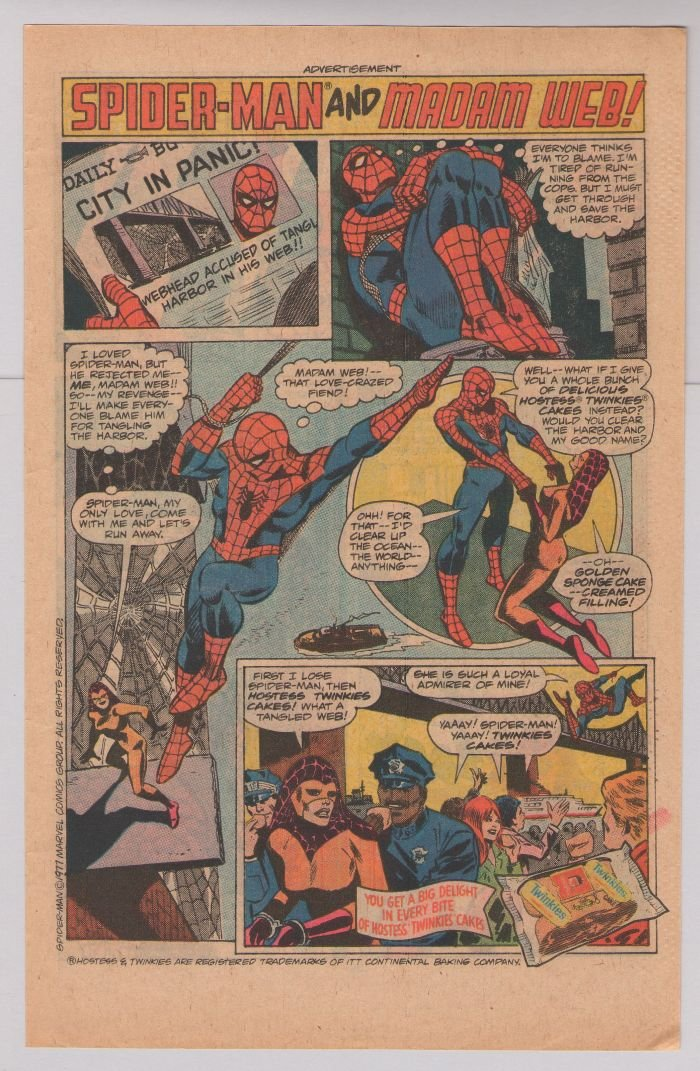 HOSTESS TWINKIES print ad SPIDER-MAN Madam Web '70s vintage comic advertisement 1977