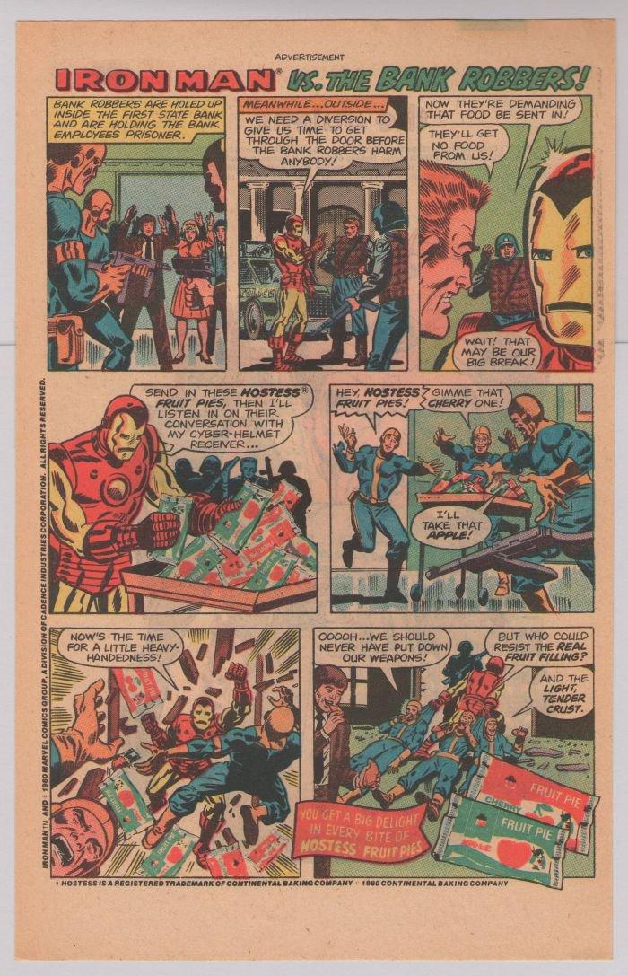 HOSTESS Fruit Pie print ad IRON MAN vs Bank Robbers comic advertisement vintage 1980