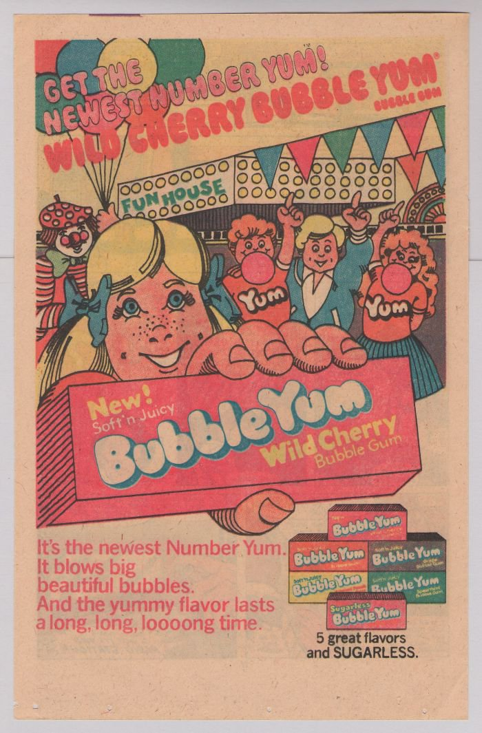 Bubble Yum Wild Cherry PRINT AD chewing gum '80s vintage advertisement 1980