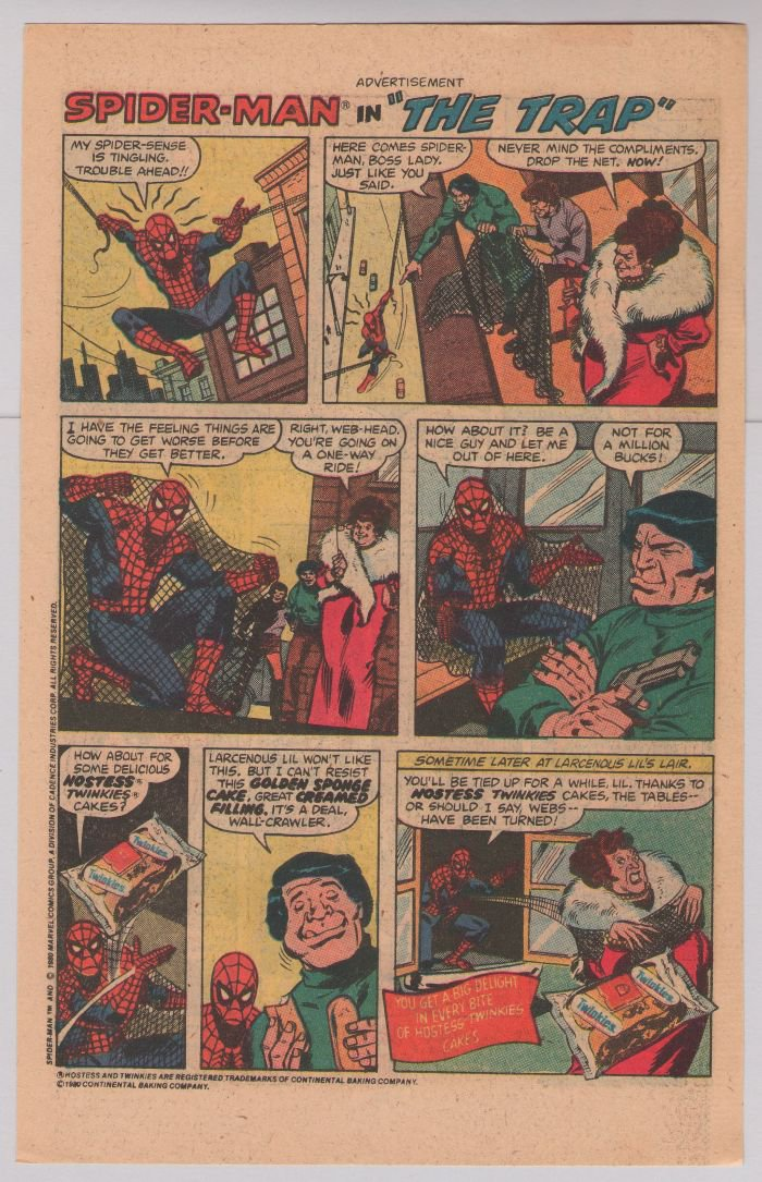 HOSTESS Twinkies PRINT AD Spider-Man in 'The Trap' vintage advertisement 1980