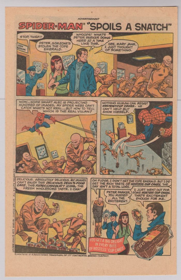 HOSTESS Cup Cakes PRINT AD Spider-Man Spoils a Snatch '70s vintage advertisement 1977