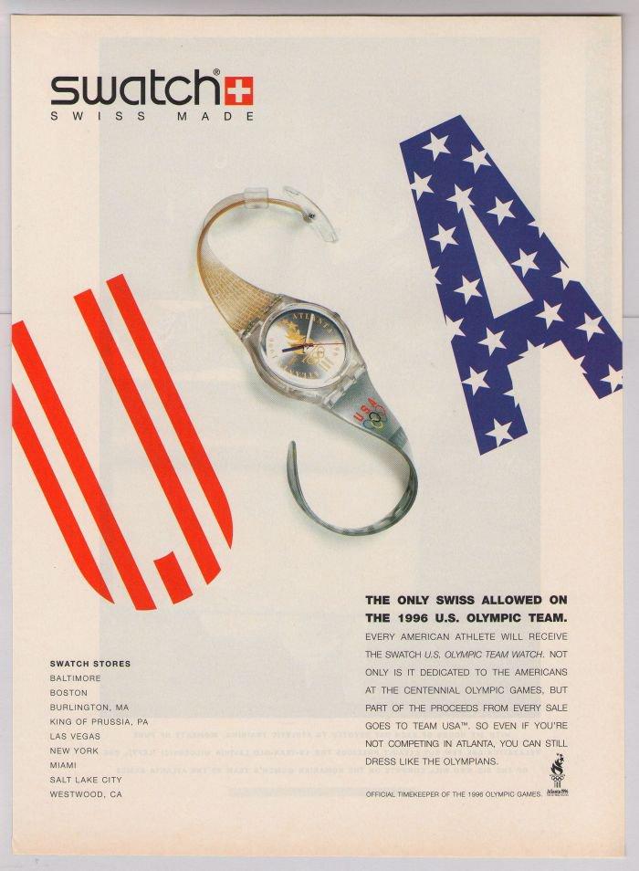 Swatch watch PRINT AD U.S. Olympic team watch '90s advertisement 1996