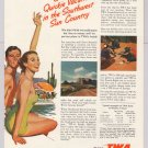 TWA airline '50s PRINT AD Southwest travel vacation vintage advertisement 1953