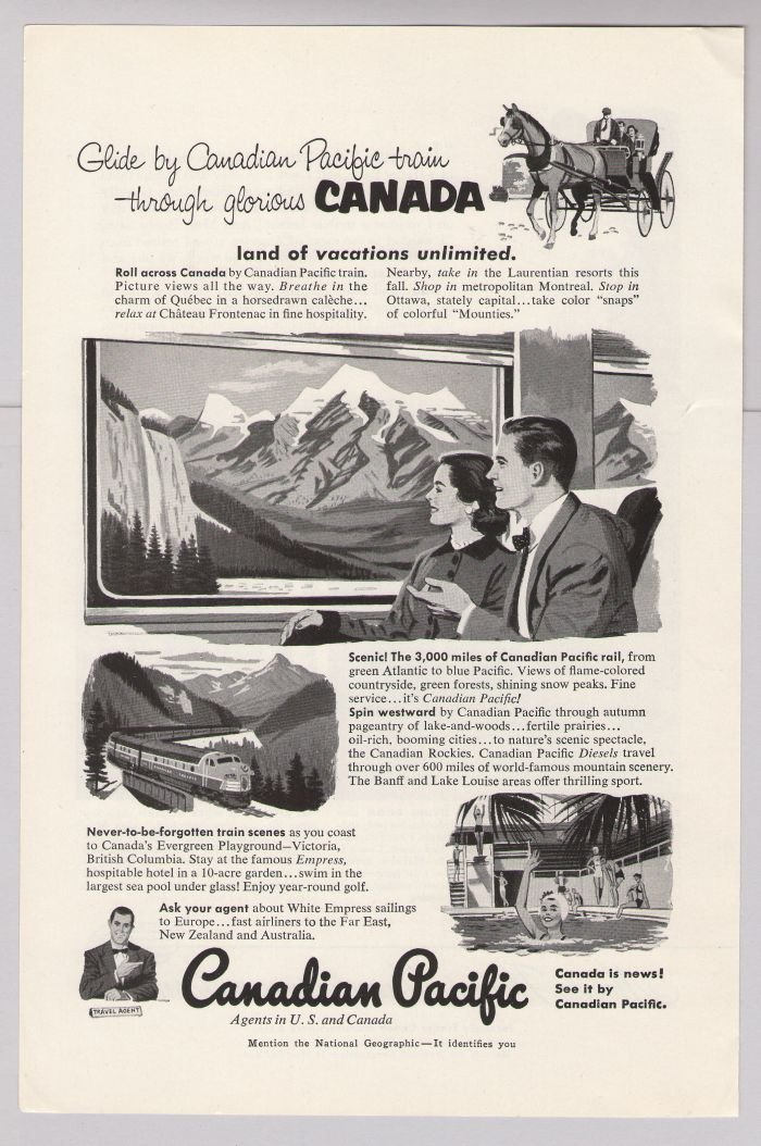 Canadian Pacific '50s PRINT AD train transportation Canada vintage advertisement 1953