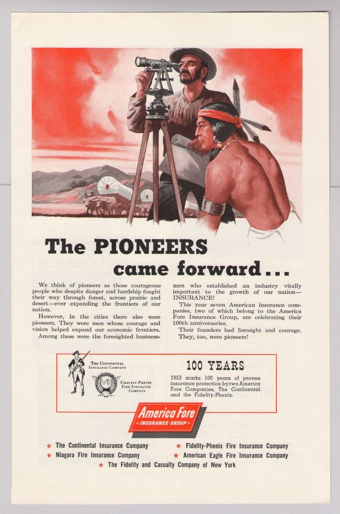 America Fore Insurance '50s PRINT AD pioneers Native American Indian advertisement 1953