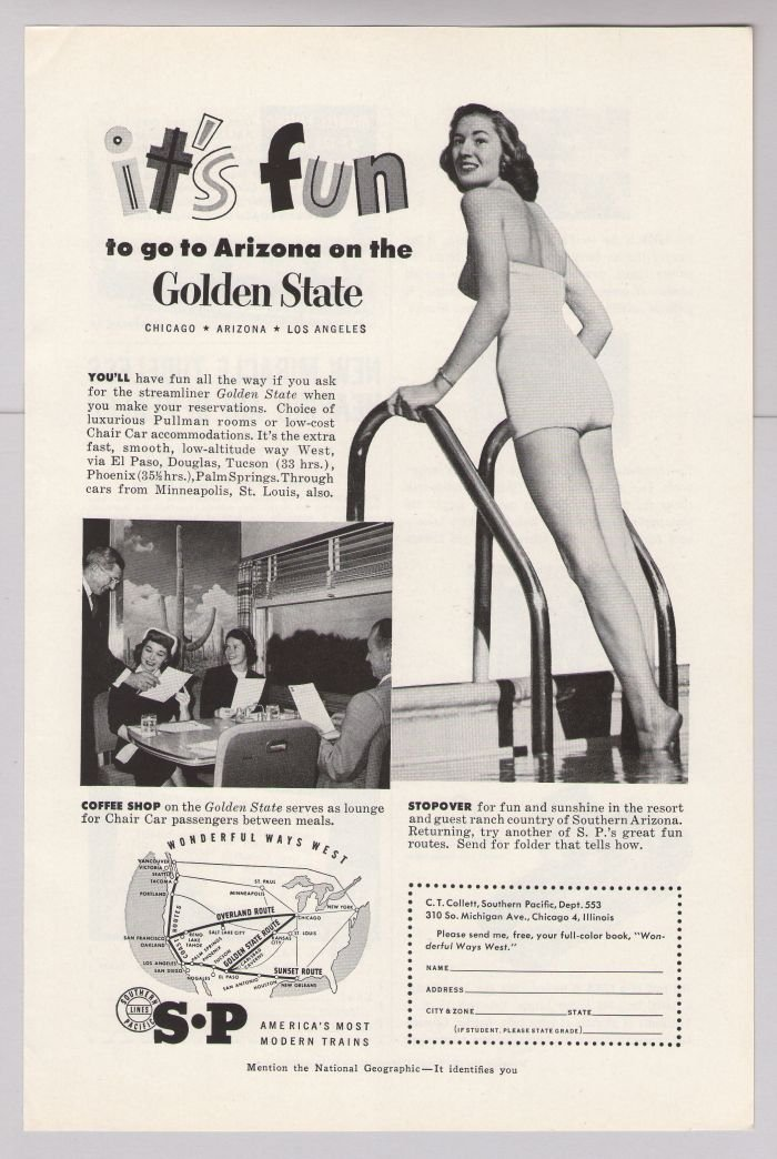 Southern Pacific '50s bathing beauty PRINT AD Golden State streamliner train Arizona vintage 1953