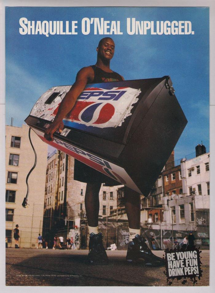 Pepsi Shaquille O Neal Print Ad Shaq Basketball Court