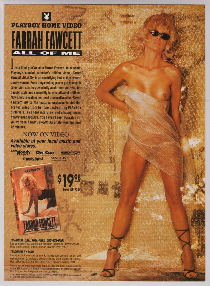 Farrah Fawcett nude \'90s PRINT AD All of Me Playboy advertisement 1997