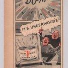 Underwood Deviled Ham '40s PRINT AD safe robbers cartoon style vintage advertisement 1944