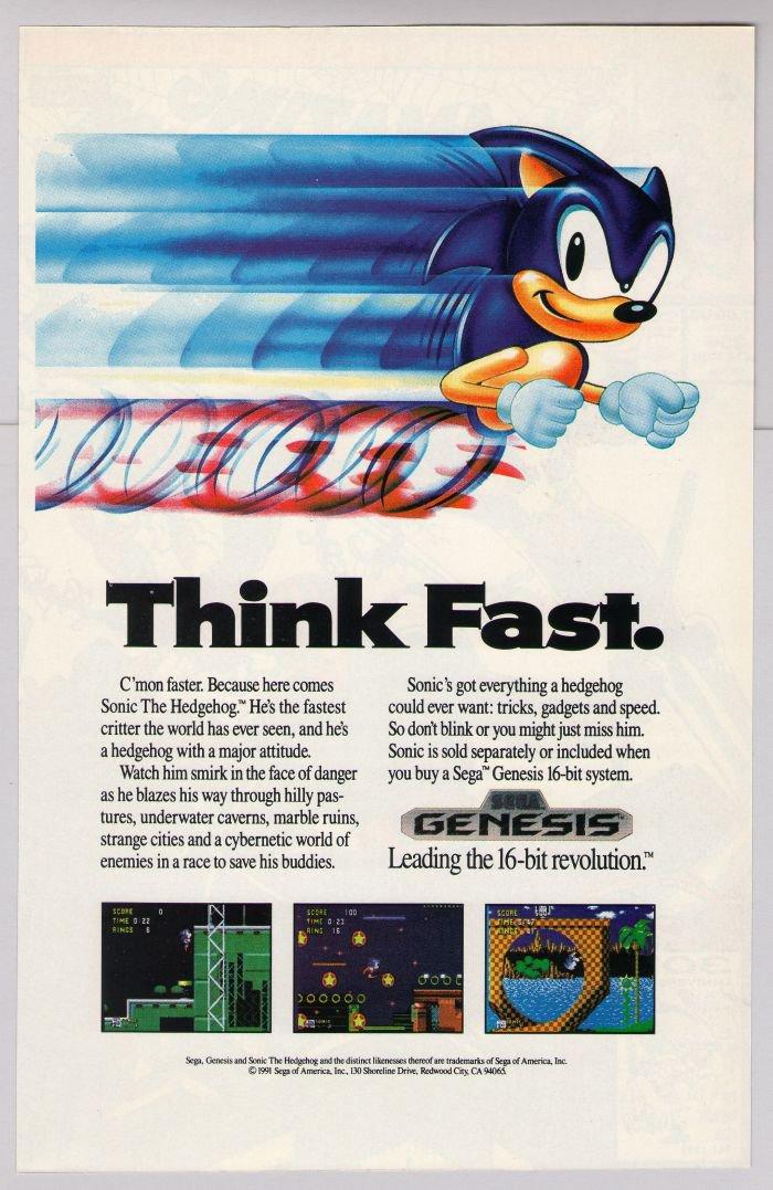 Sonic The Hedgehog 90s Print Ad Sega Genesis Video Game Advertisement 1991