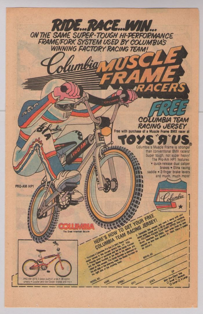 Columbia Pro-Am HP1 BMX bike Muscle Frame Racers '80s PRINT AD vintage bicycle advertisement 1983