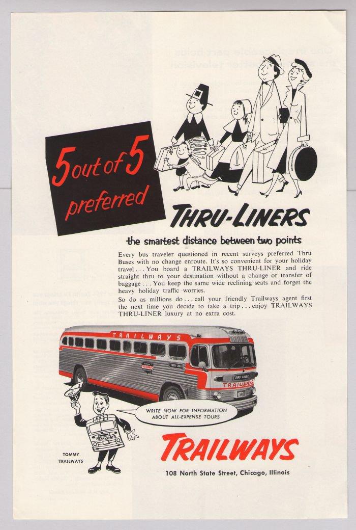 Trailways PRINT AD Thru-Liners travel bus '50s 2-color vintage advertisement 1953