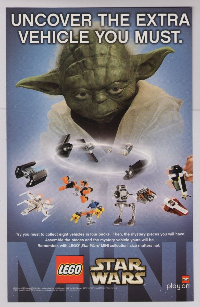 Lego Star Wars Print Ad Yoda Mini Vehicle Sets