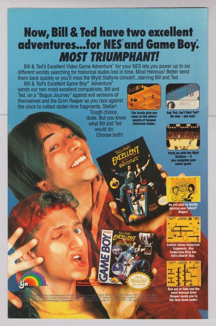Bill & Ted video game '90s PRINT AD Keanu Reeves Nintendo advertisement 1991