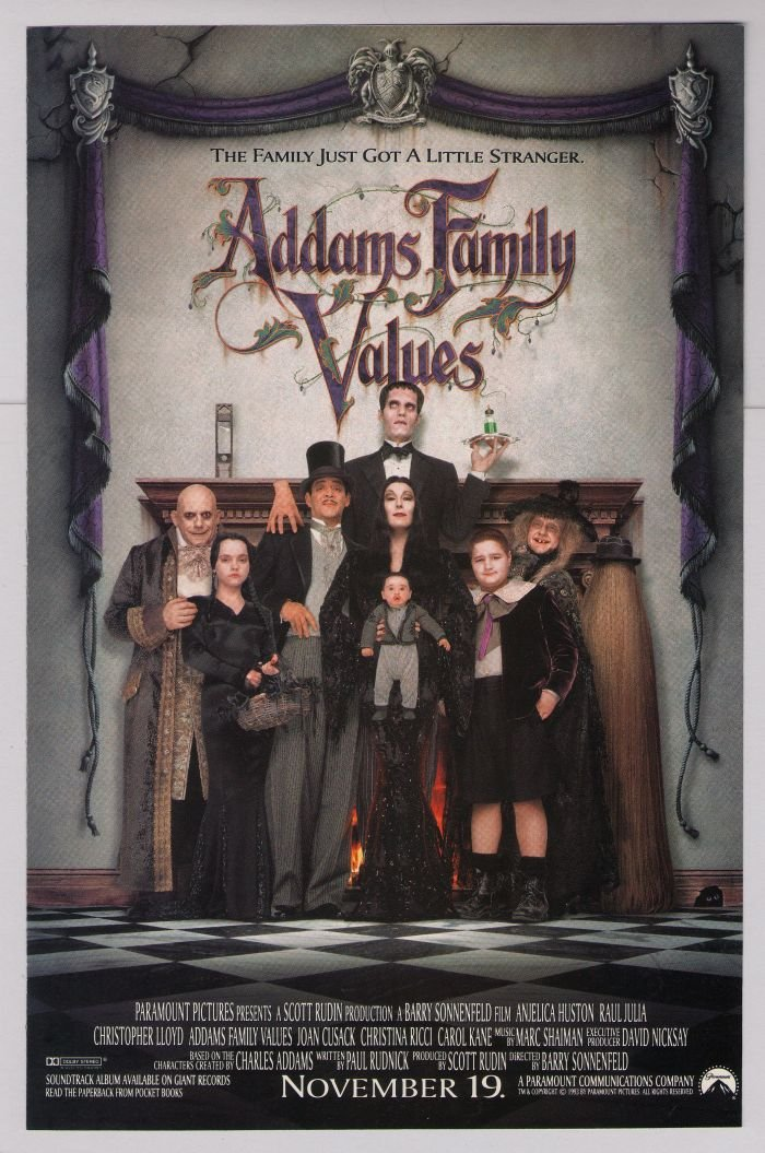 ADDAMS FAMILY VALUES movie '90s PRINT AD film advertisement 1993