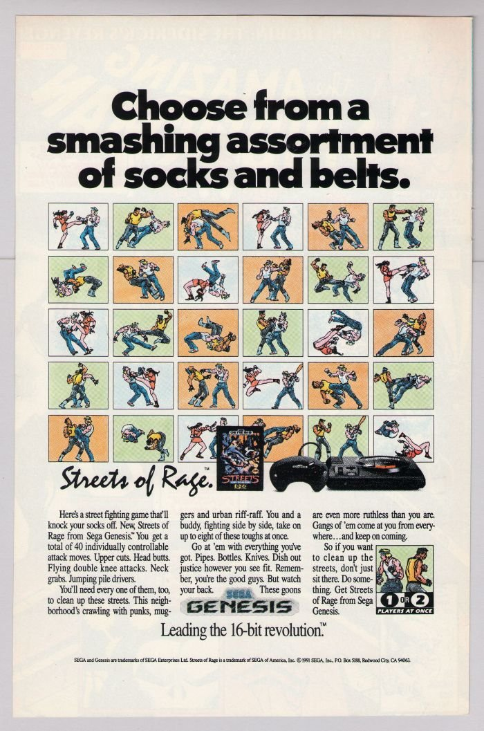 Streets of Rage video game '90s PRINT AD Sega Genesis advertisement 1991