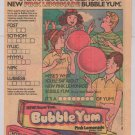 Bubble Yum Pink Lemonade gum '80s PRINT AD vintage advertisement word scramble 1983