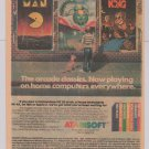 ATARISOFT video games '80s PRINT AD arcade PAC-MAN Donkey Kong ATARI vintage advertisement 1983