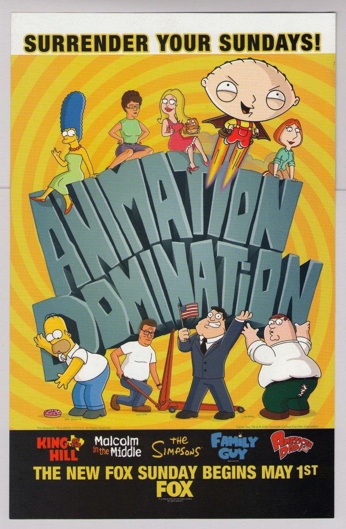 FOX Simpsons Family Guy King of the Hill PRINT AD Animation Domination advertisement 2005