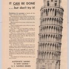 U.S. Savings Bonds '40s PRINT AD Leaning Tower of Pisa vintage ad 1949