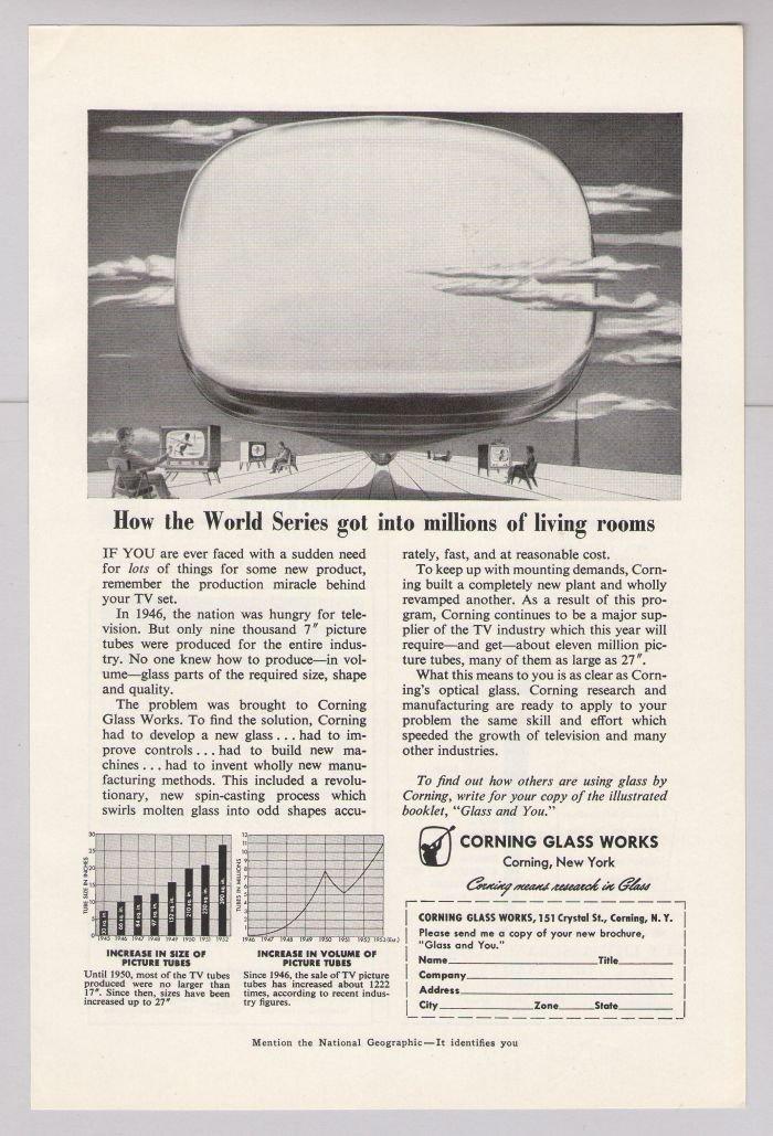 Corning Glass Works '50s PRINT AD baseball World Series television TV vintage advertisement 1953