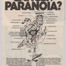 American Cancer Society Jack Davis art '90s PRINT AD Cancer Paranoia advertisement 1991