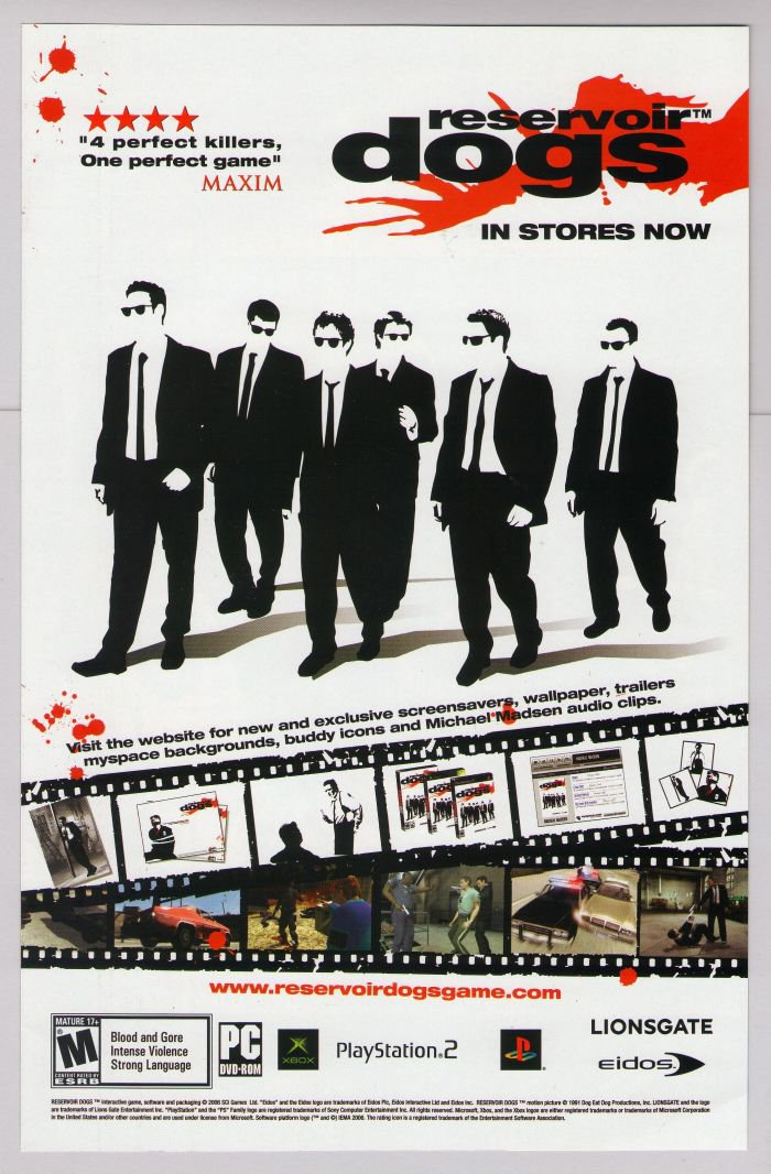 RESERVOIR DOGS video game PRINT AD Quentin Tarantino advertisement 2006