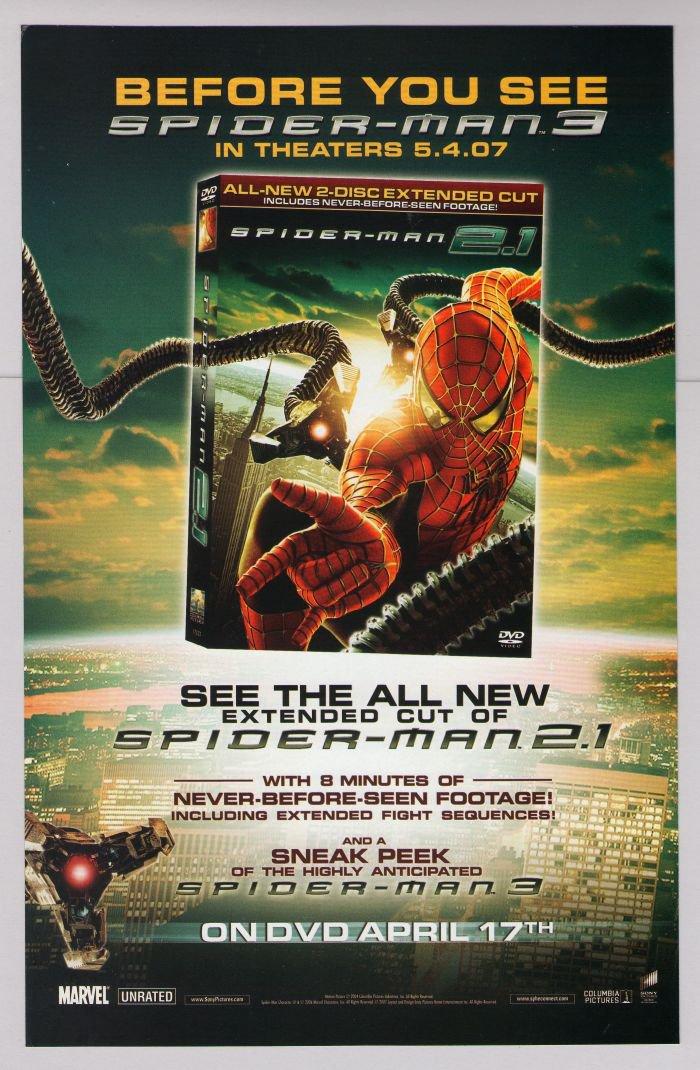 SPIDER-MAN 2.1 DVD movie PRINT AD superhero Dr. Octopus tentacles advertisement 2007