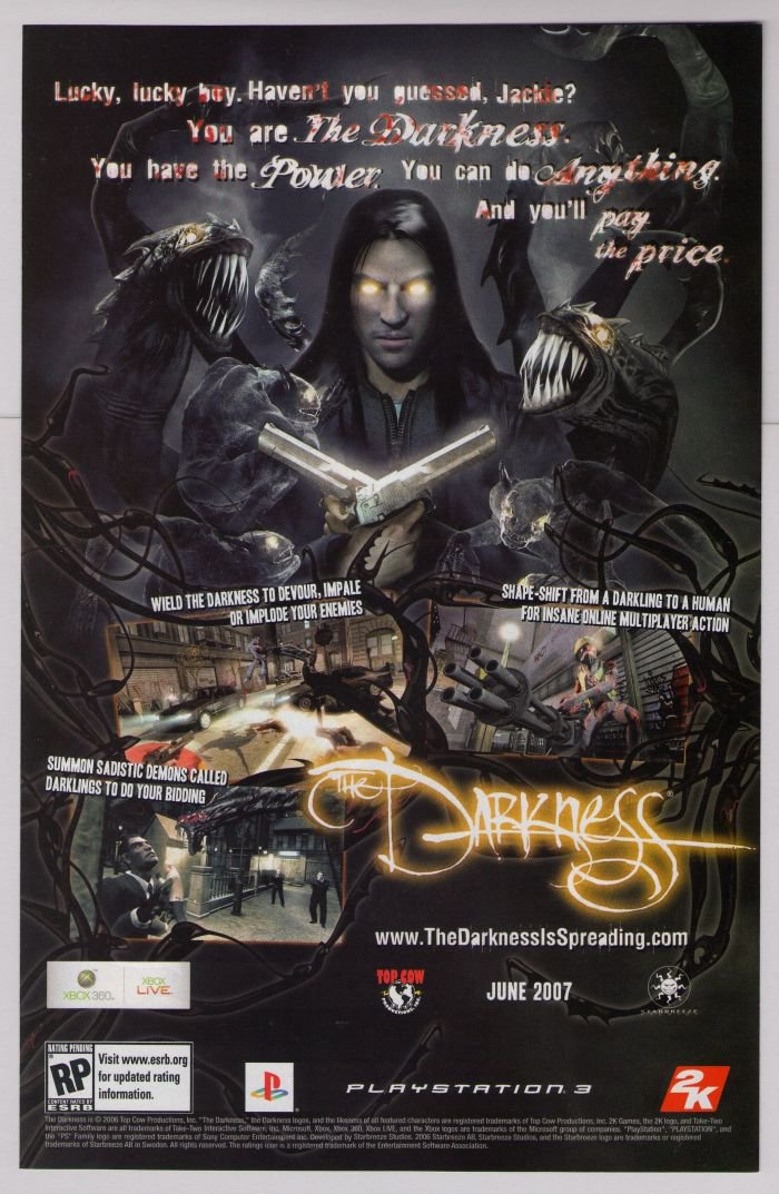 THE DARKNESS video game PRINT AD Top Cow PS3 advertisement 2006