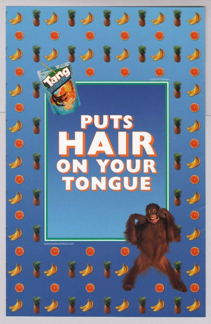 Tang orangutan PRINT AD fruit drink advertisement blue 2002