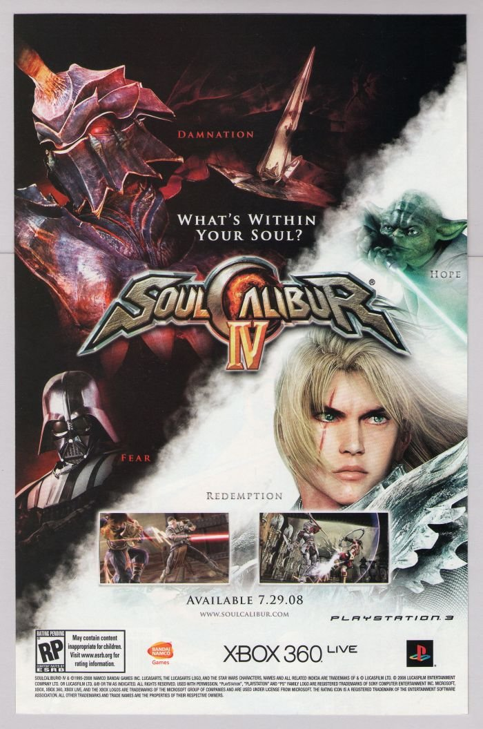 SOULCALIBUR IV Star Wars video game PRINT AD advertisement 2008
