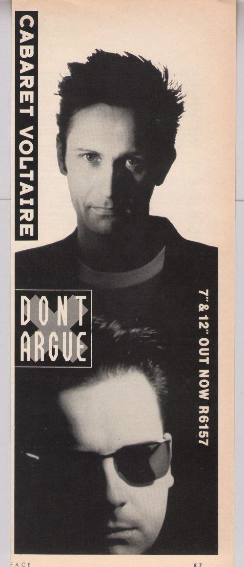 CABARET VOLTAIRE Don't Argue '80s PRINT AD album British advertisement 1987