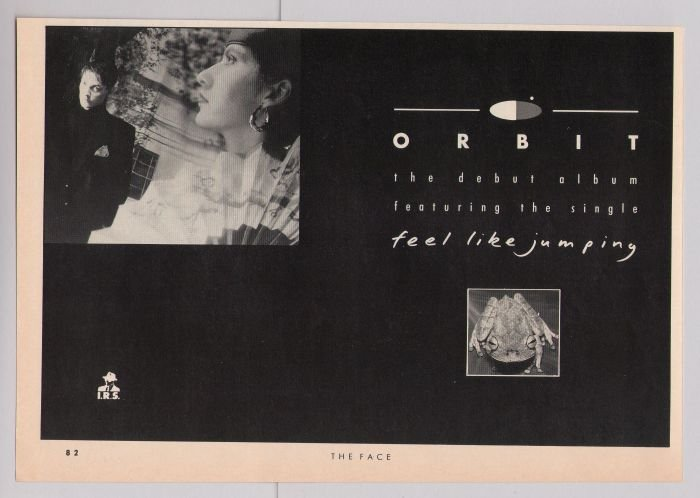 Orbit Feel Like Jumping debut album '80s PRINT AD IRS British vintage advertisement 1987