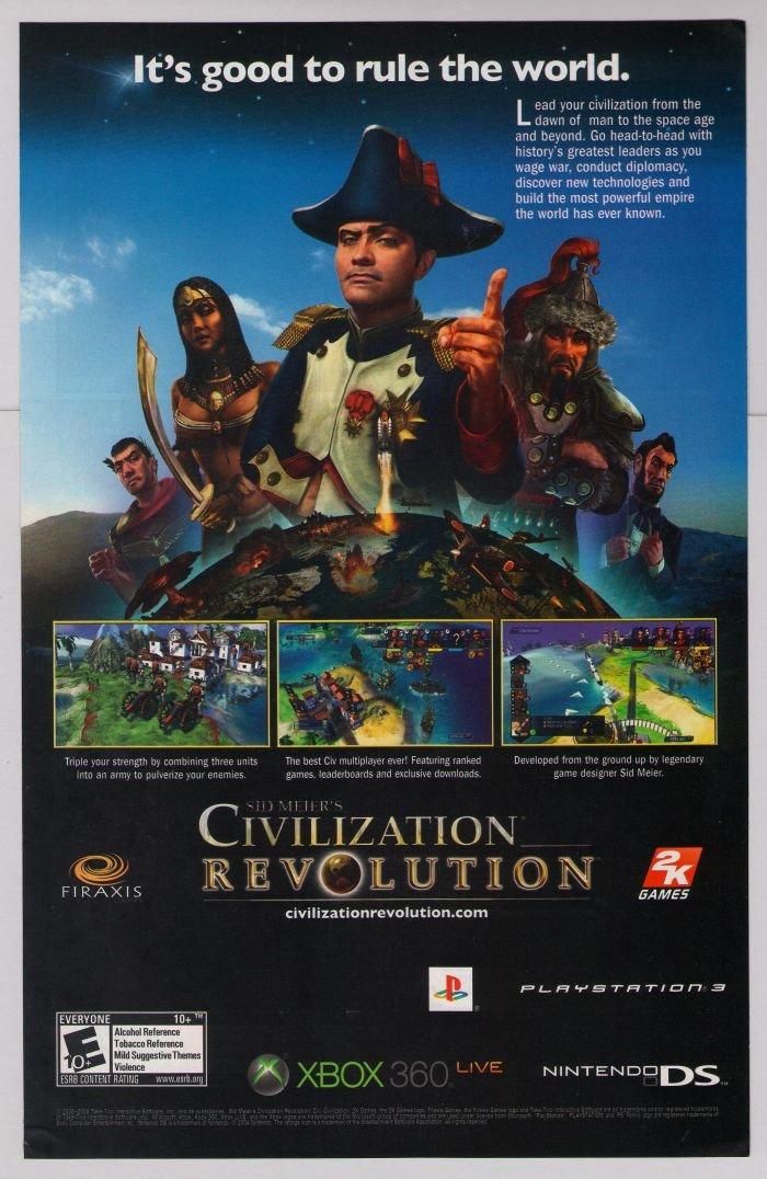 Civilization Revolution PRINT AD video game advertisement Napoleon Genghis Khan 2008