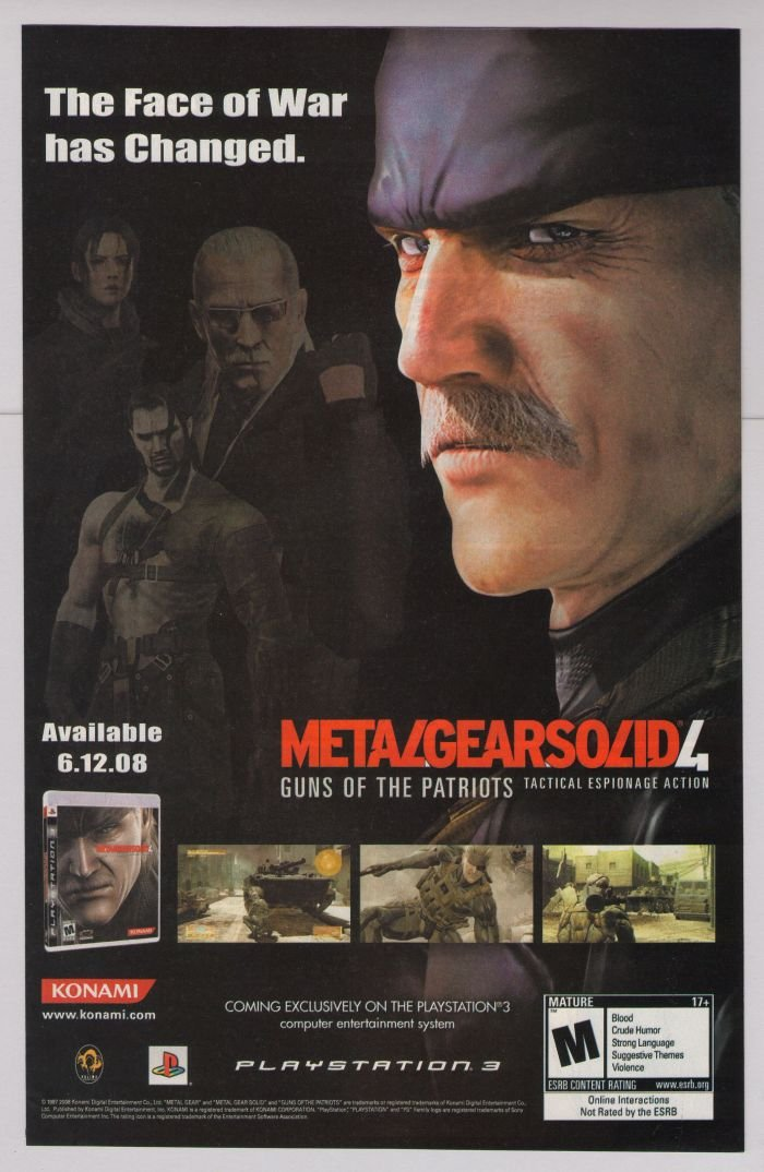 METAL GEAR SOLID 4 video game PRINT AD advertisement PS3 2008