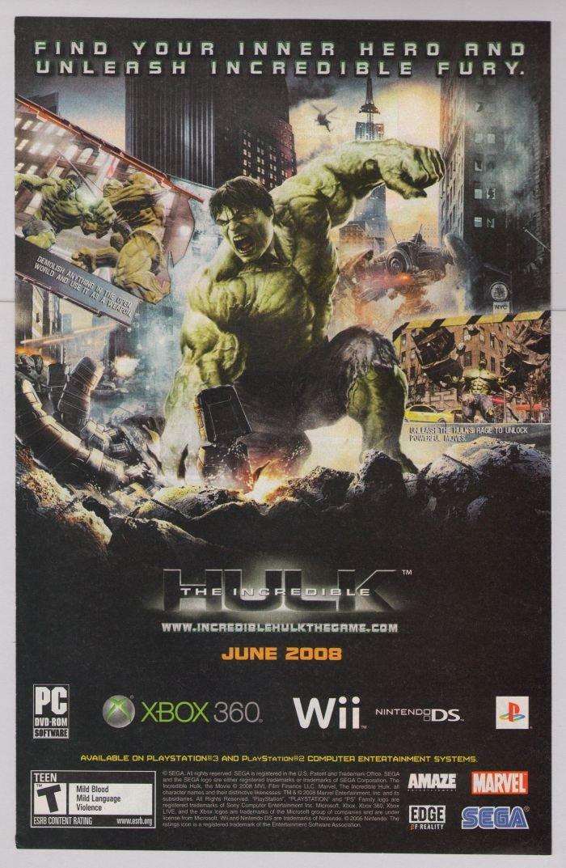 INCREDIBLE HULK video game PRINT AD advertisement 2008