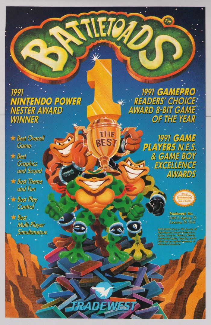 BATTLETOADS video game '90s PRINT AD Tradewest advertisement 1991