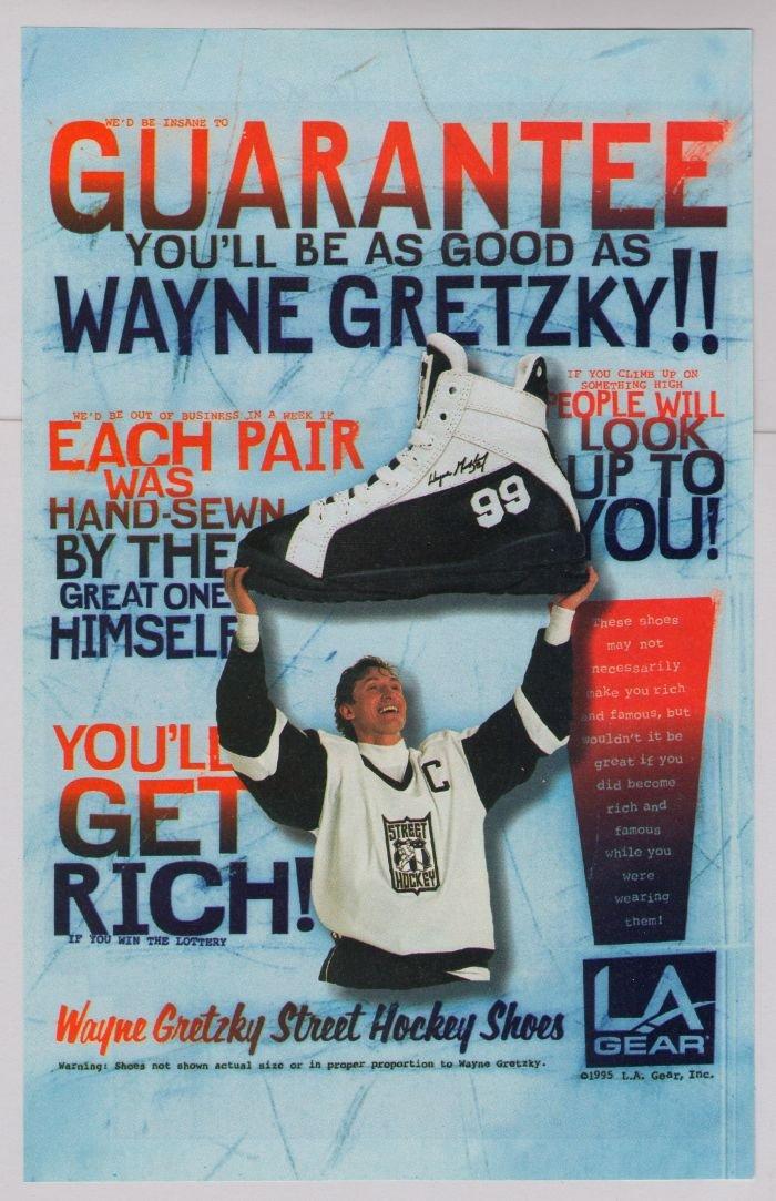 WAYNE GRETZKY Street Hockey Shoes '90s PRINT AD LA Gear advertisement funny 1995