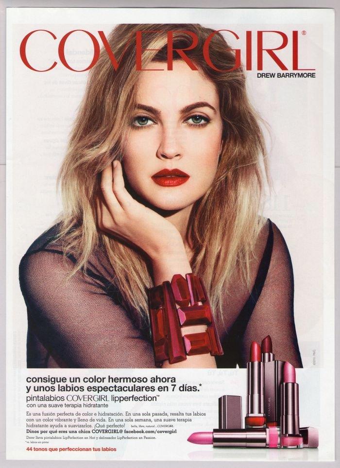 COVERGIRL Drew Barrymore PRINT AD LipPerfection lipstick Spanish Espanol advertisement 2011