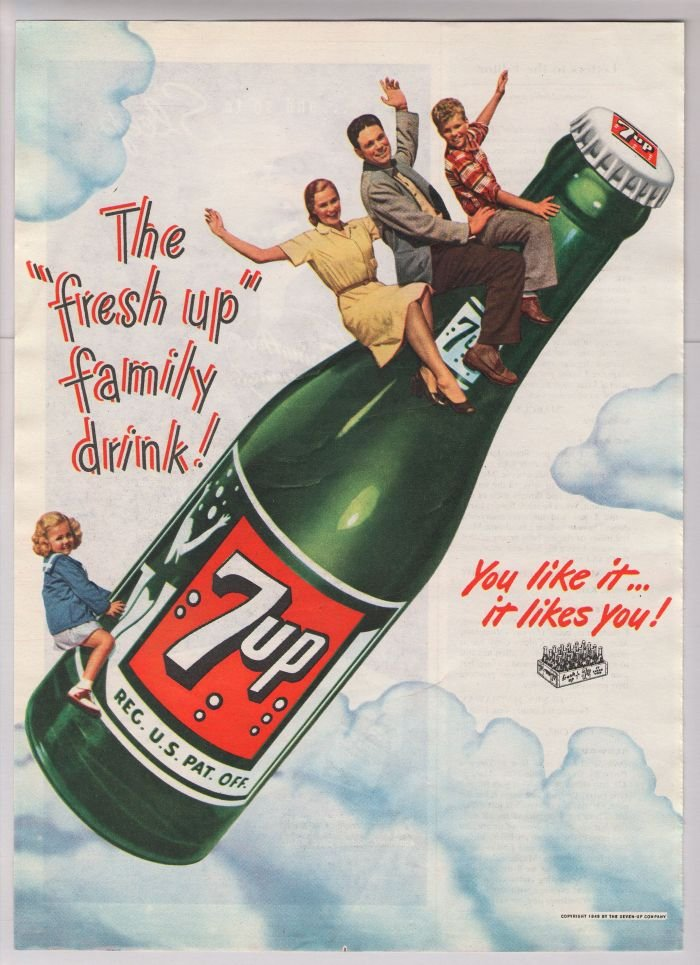 7up '40s old PRINT AD family riding 7-Up bottle in clouds