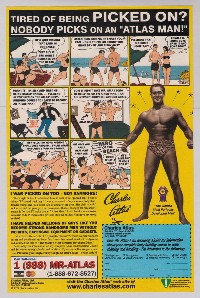 charles atlas bodybuilder print ad fitness program retro advertisement 1999