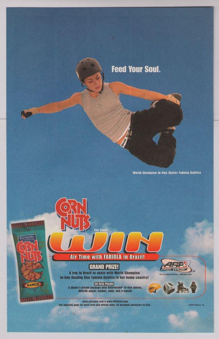Corn Nuts skater Fabiola DaSilva PRINT AD extreme sports advertisement 2001
