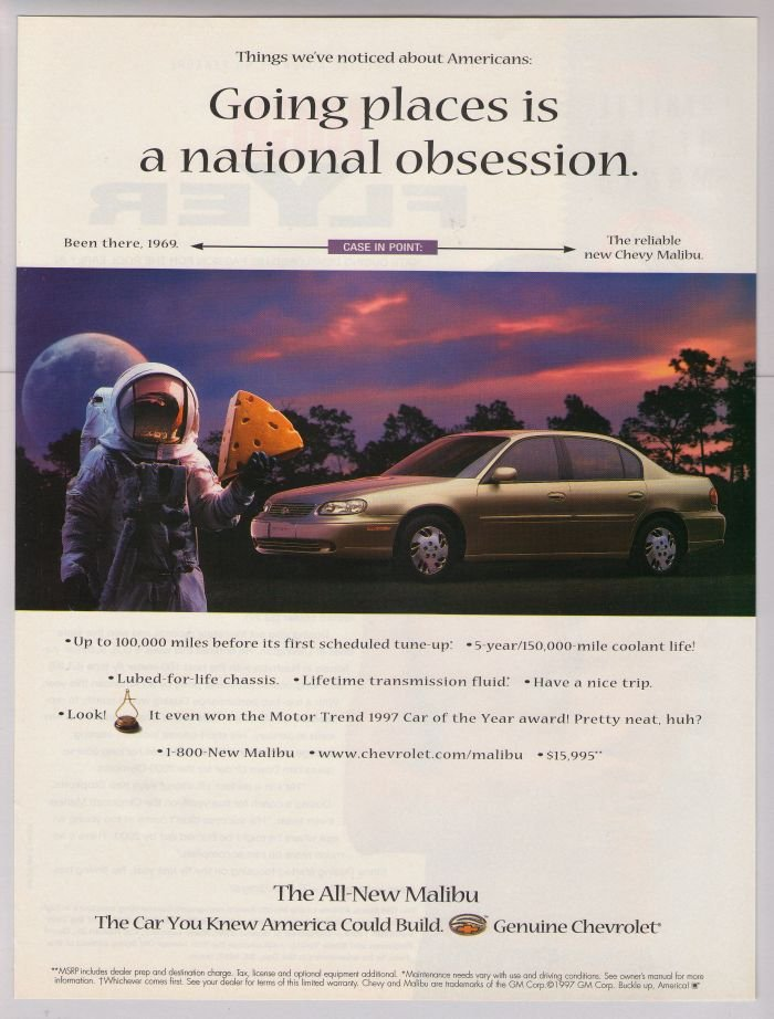 Chevy Malibu astronaut '90s PRINT AD Chevrolet automobile car advertisement 1997