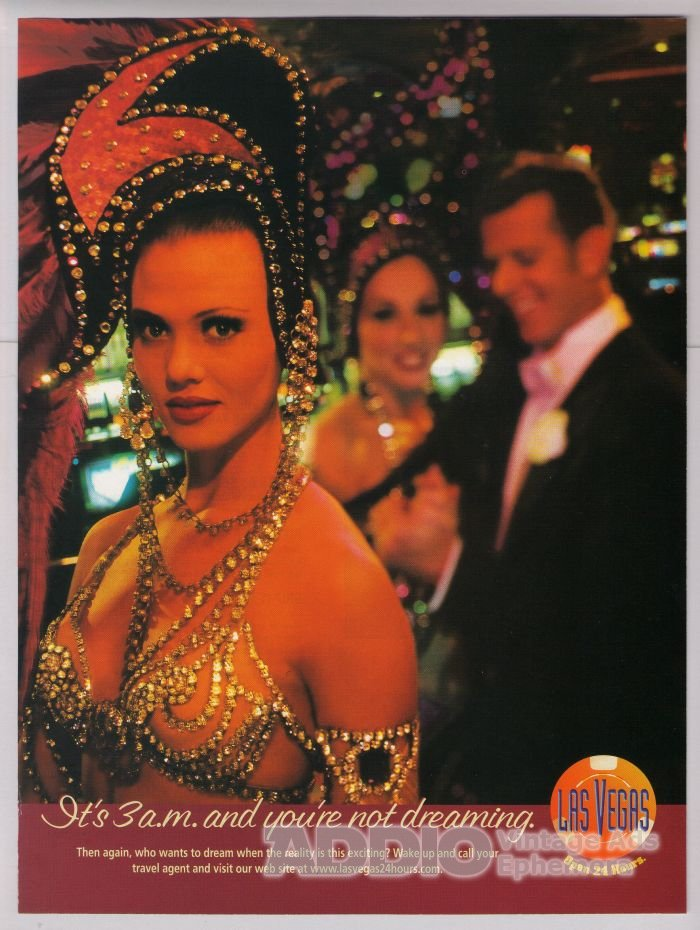 Las Vegas showgirls '90s PRINT AD - you're not dreaming - travel tourism advertisement 1998