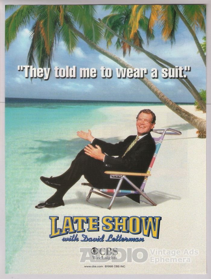 Late Show with David Letterman '90s PRINT AD tv show CBS advertisement beach 1998